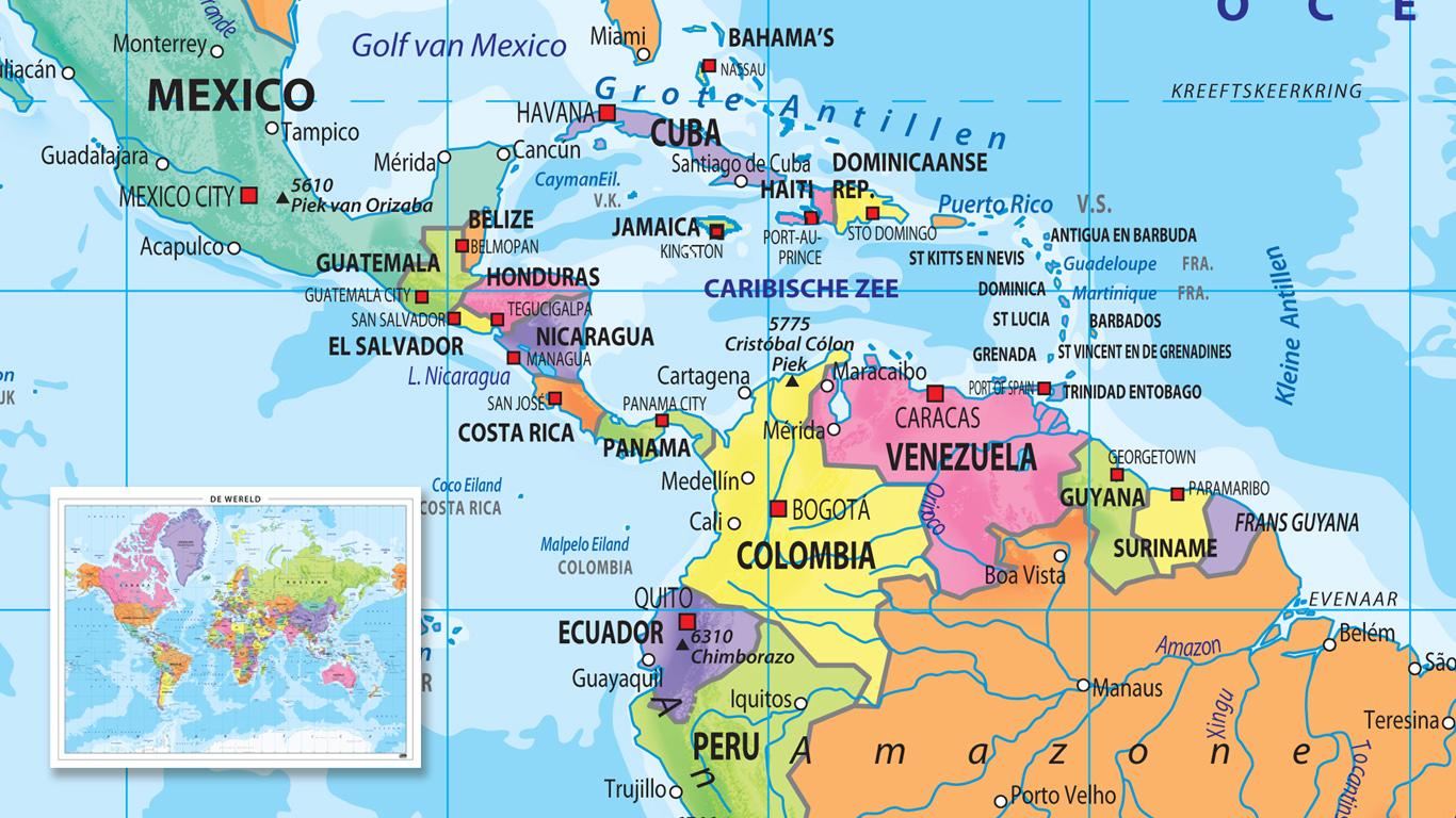 Wereldkaart met vrolijke kleuren en heldere teksten.