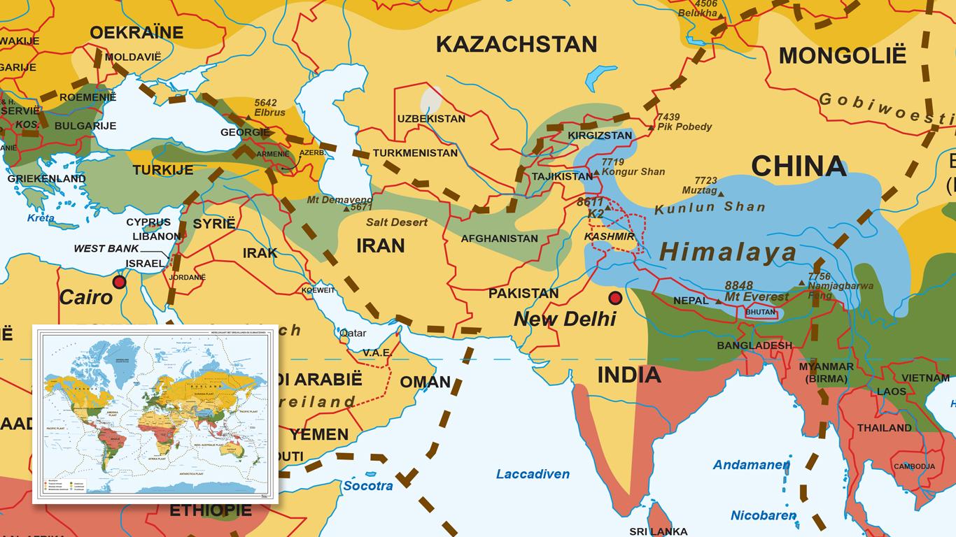 Wereldkaart met Klimaatzonegebieden.