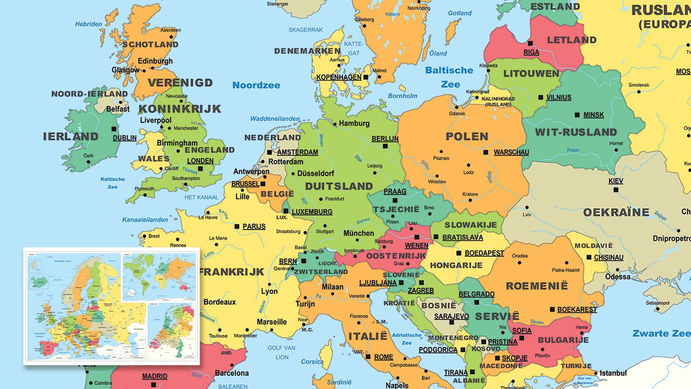 Combinatiekaart Europa, de Wereld en Nederland.
