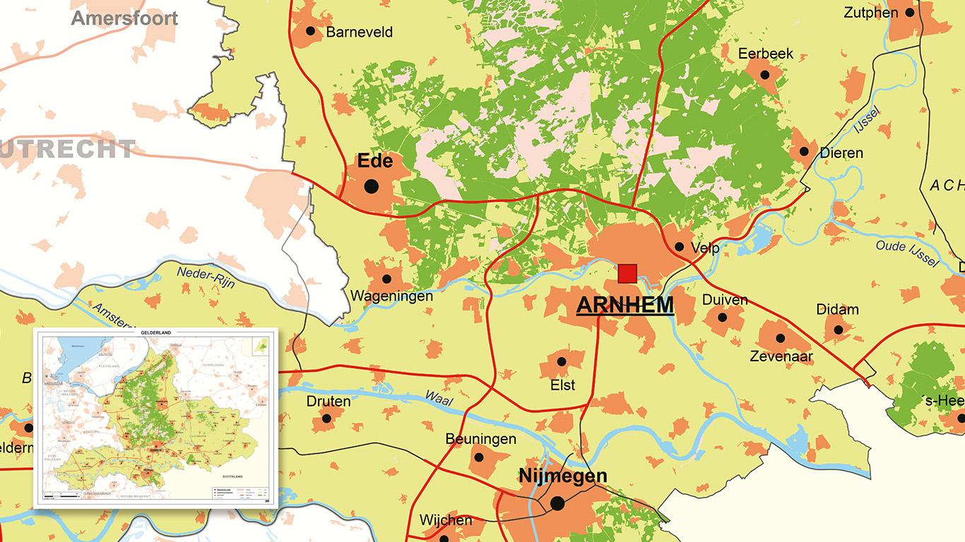 Provinciekaart Gelderland met simpele kleuren.