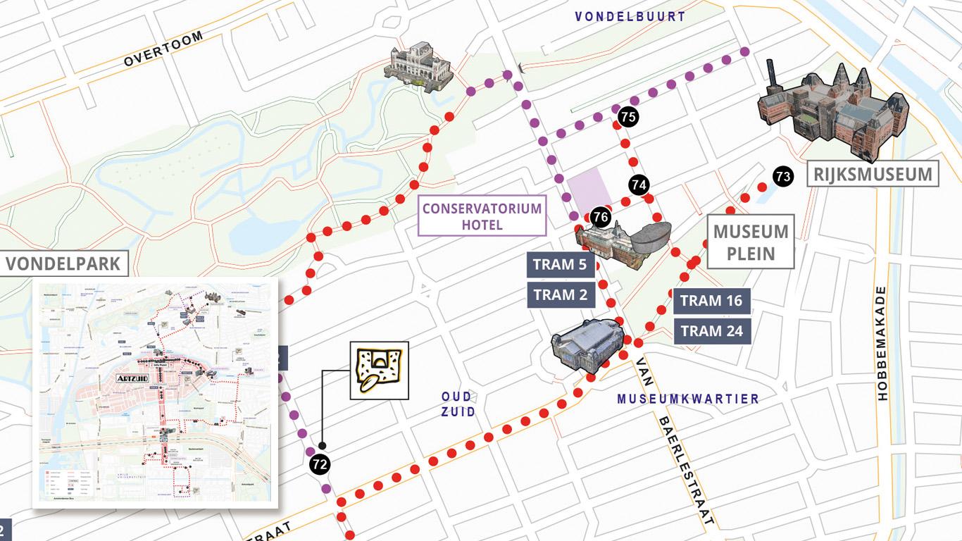 Routekaart voor monumentenroute ArtZuid.