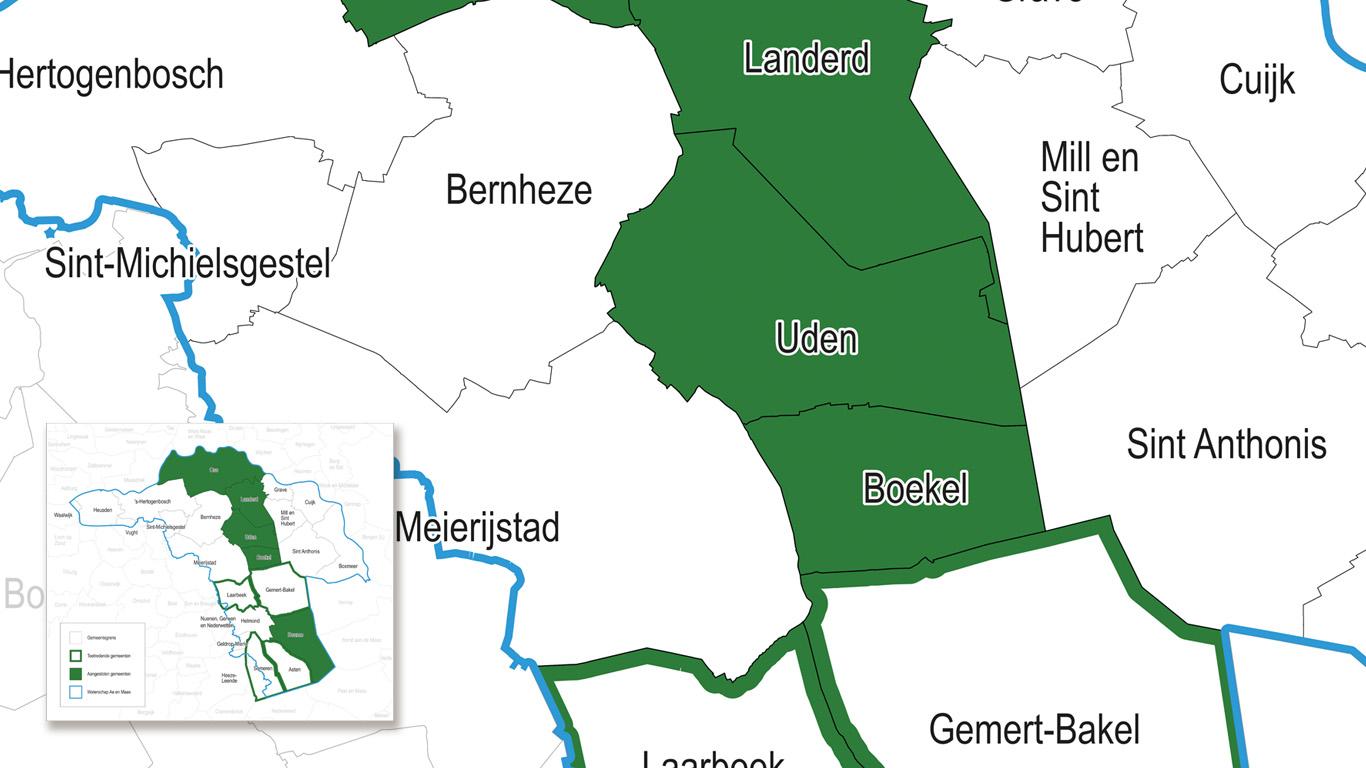 Administratieve kaart met kleurmarkeringen en grensaanduidingen.