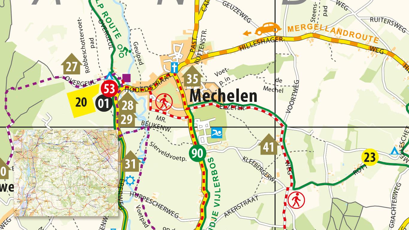 Down South Routekaart met verschillende locaties.