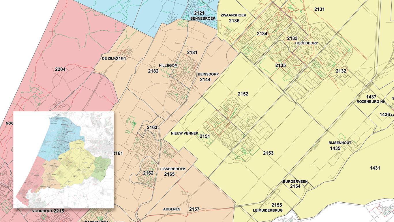 Kalmthout Rayonkaart in 5 kleuren met postcodes.