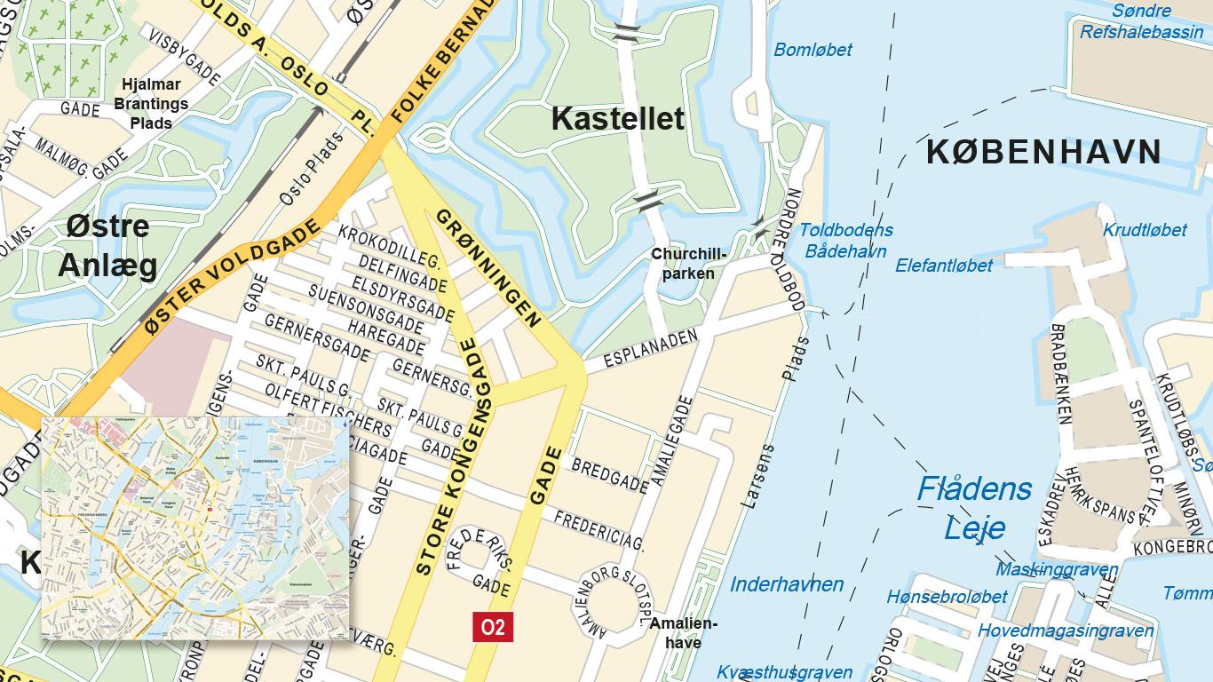Stadsplattegrond Kopenhagen met alternatieve kleurenset.