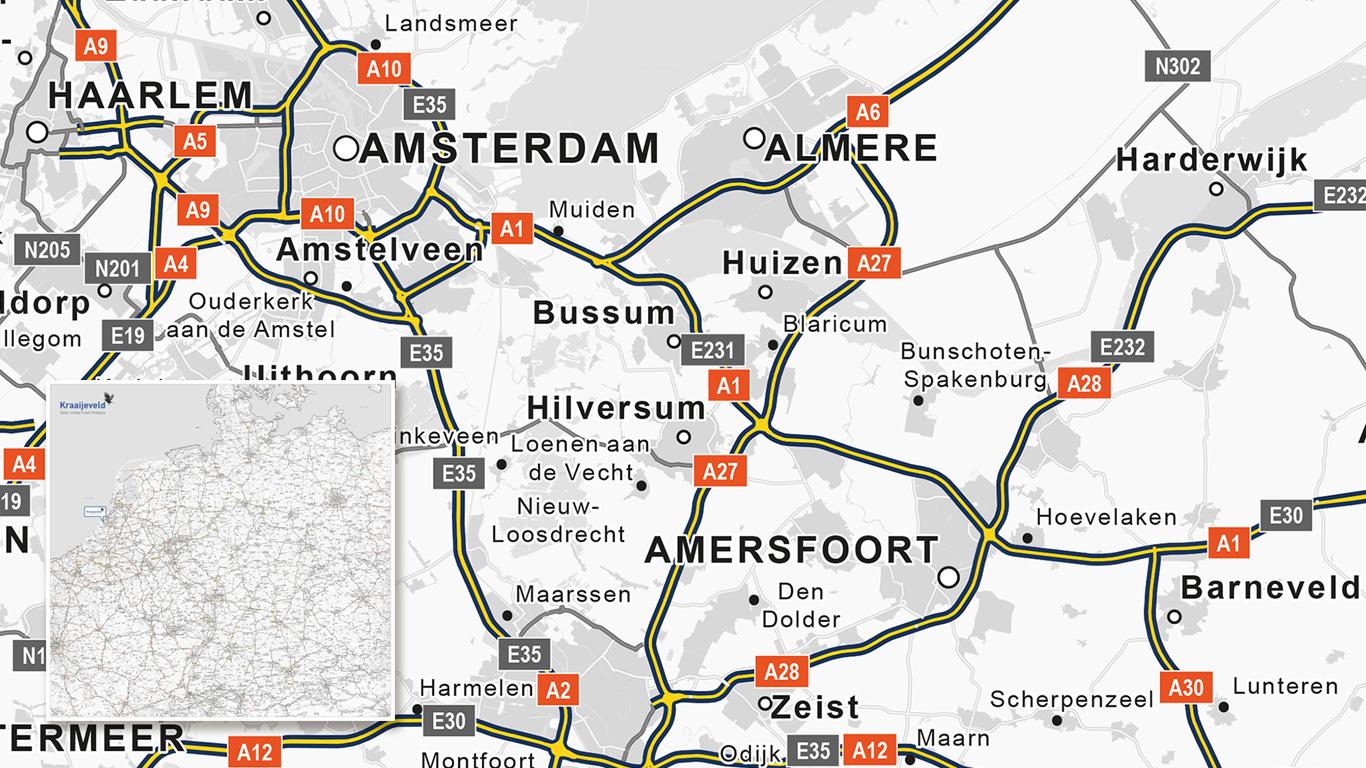 Wegenkaart Kraaieveld met locaties.