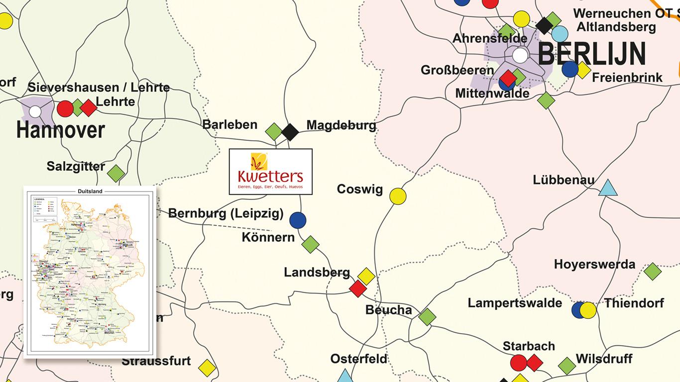Kwetters Locatiekaart van Duitsland