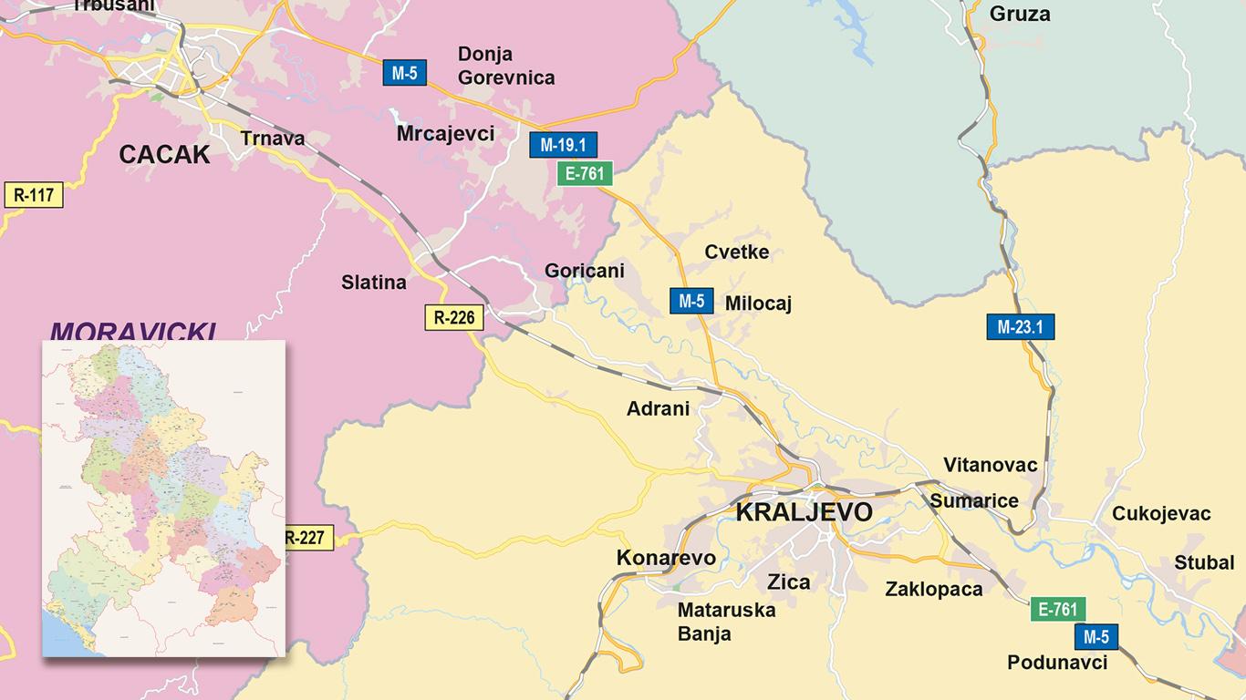Overzichtskaart Montenegro/Servië voor de Nederlandse ambassade.