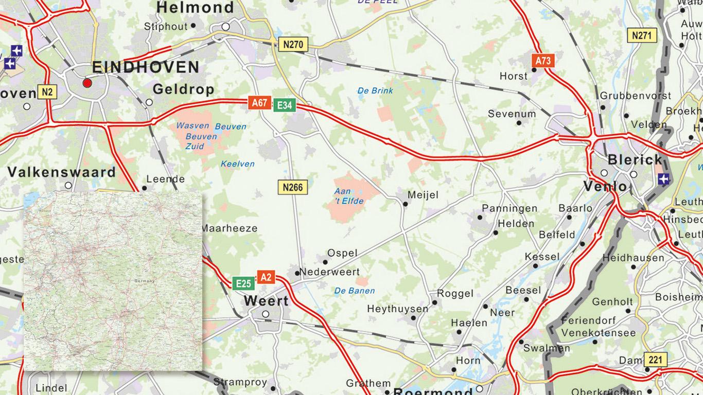 Wegenkaart voor het bedrijf Oskam met op maat gemaakte kaartstijl.