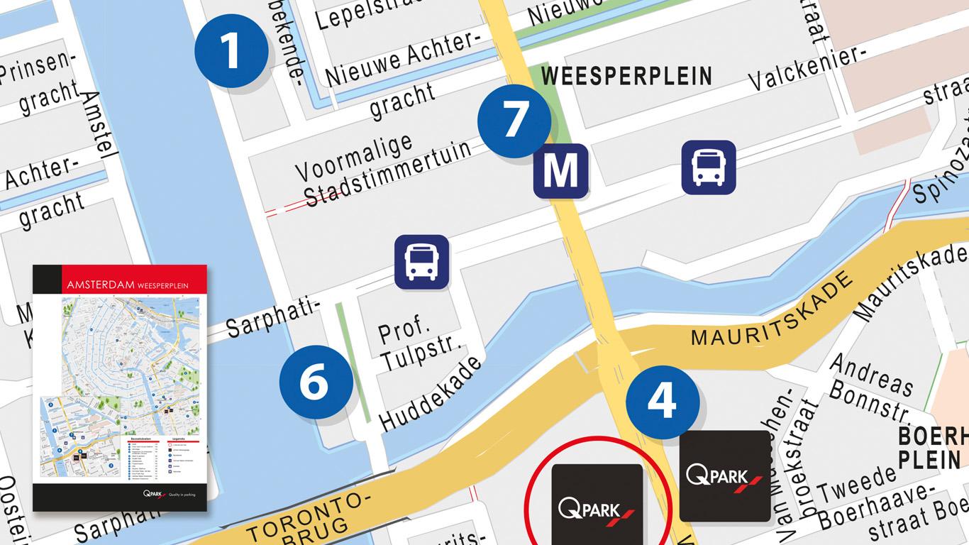 Plattegrond in Amsterdam voor Q-Park.