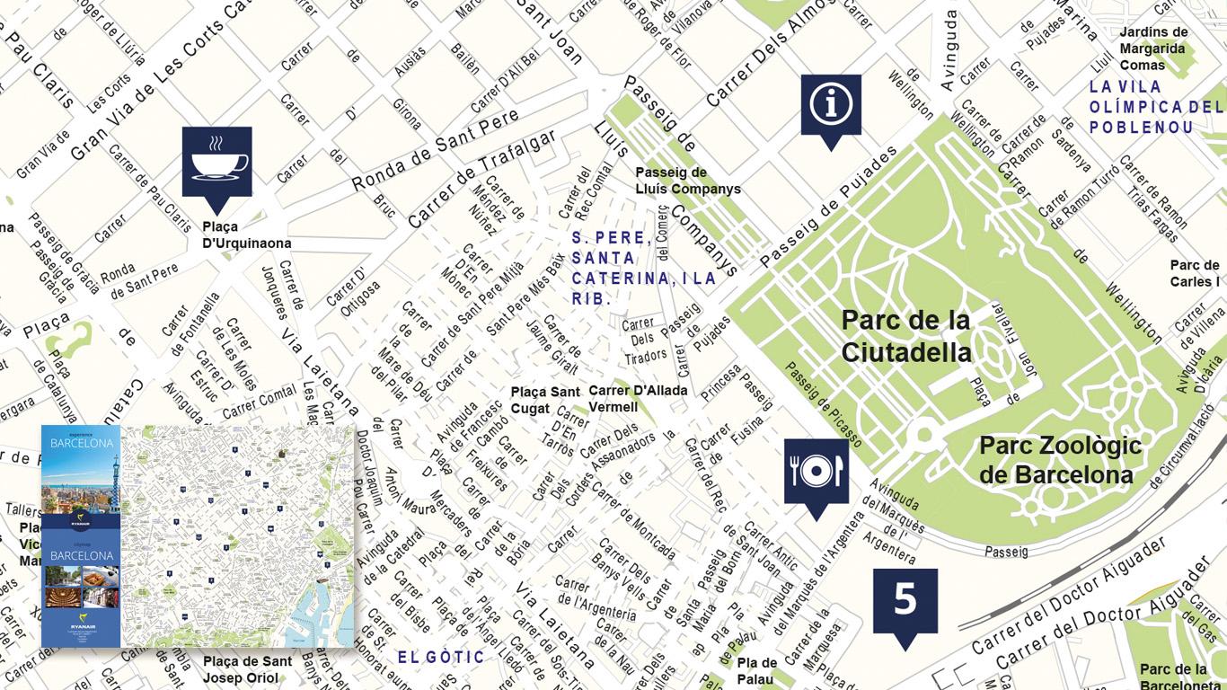 Stadsplattegrond Barcelona voor Ryanair.