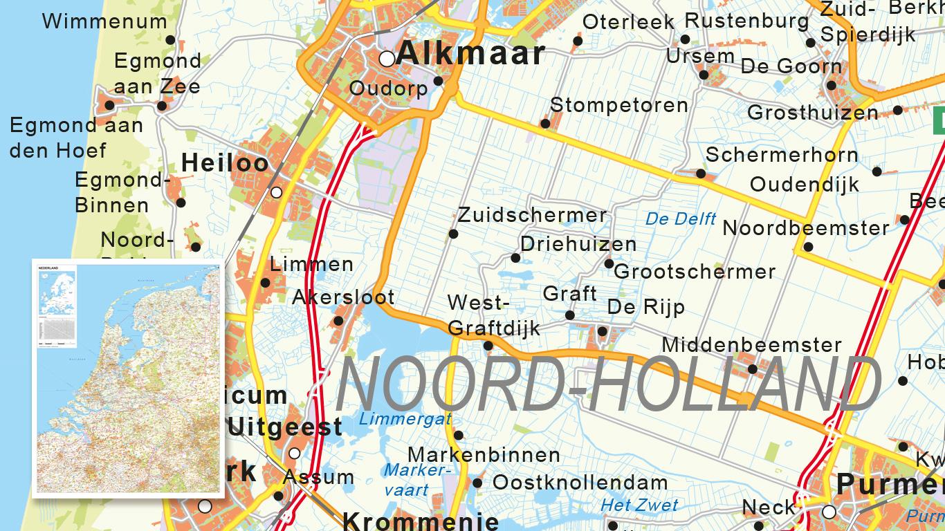 Wegenkaart Nederland gemaakt voor K&A.
