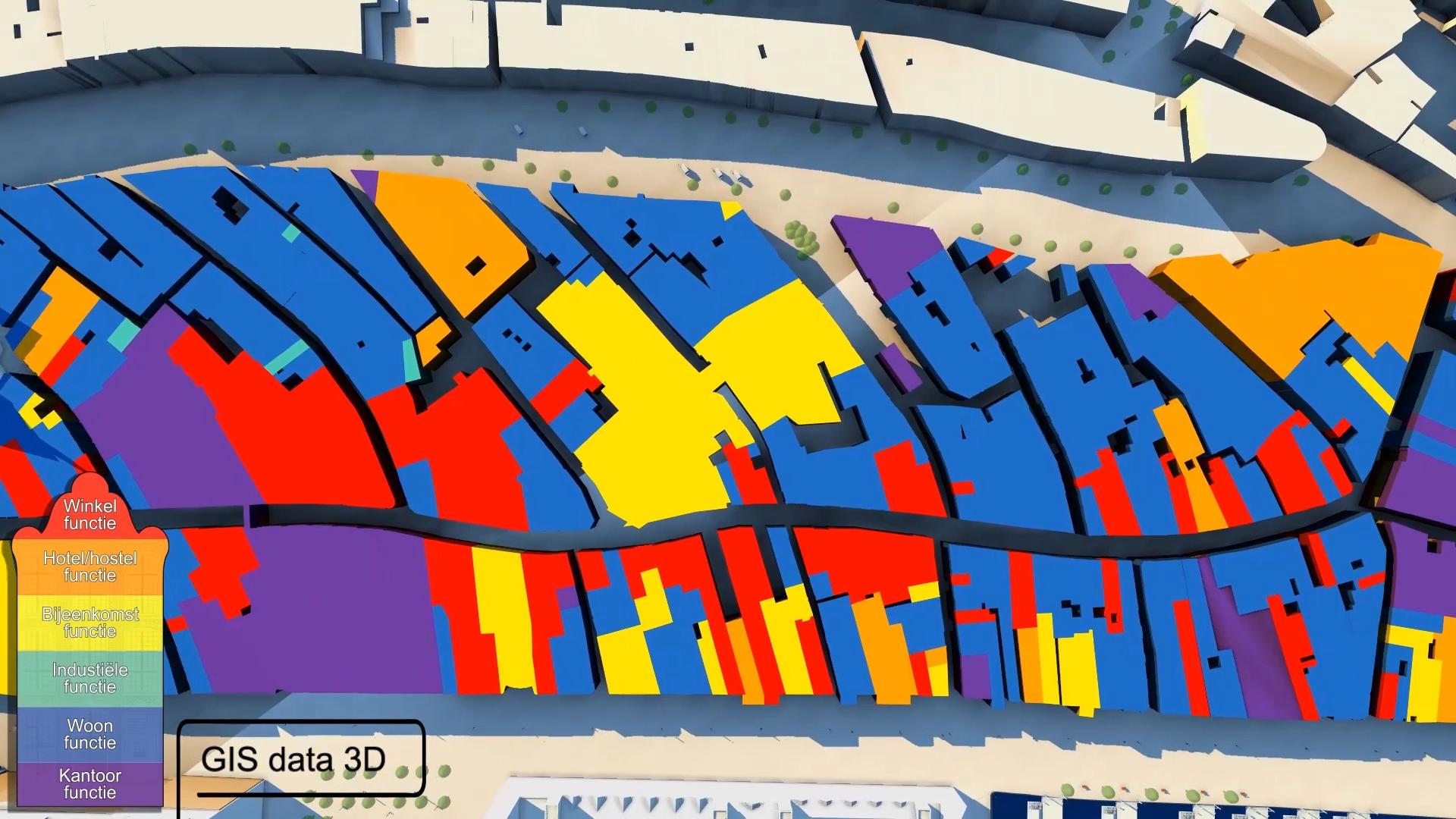 Bestemmingsplan gecategoriseerd op kleur, de Dam.
