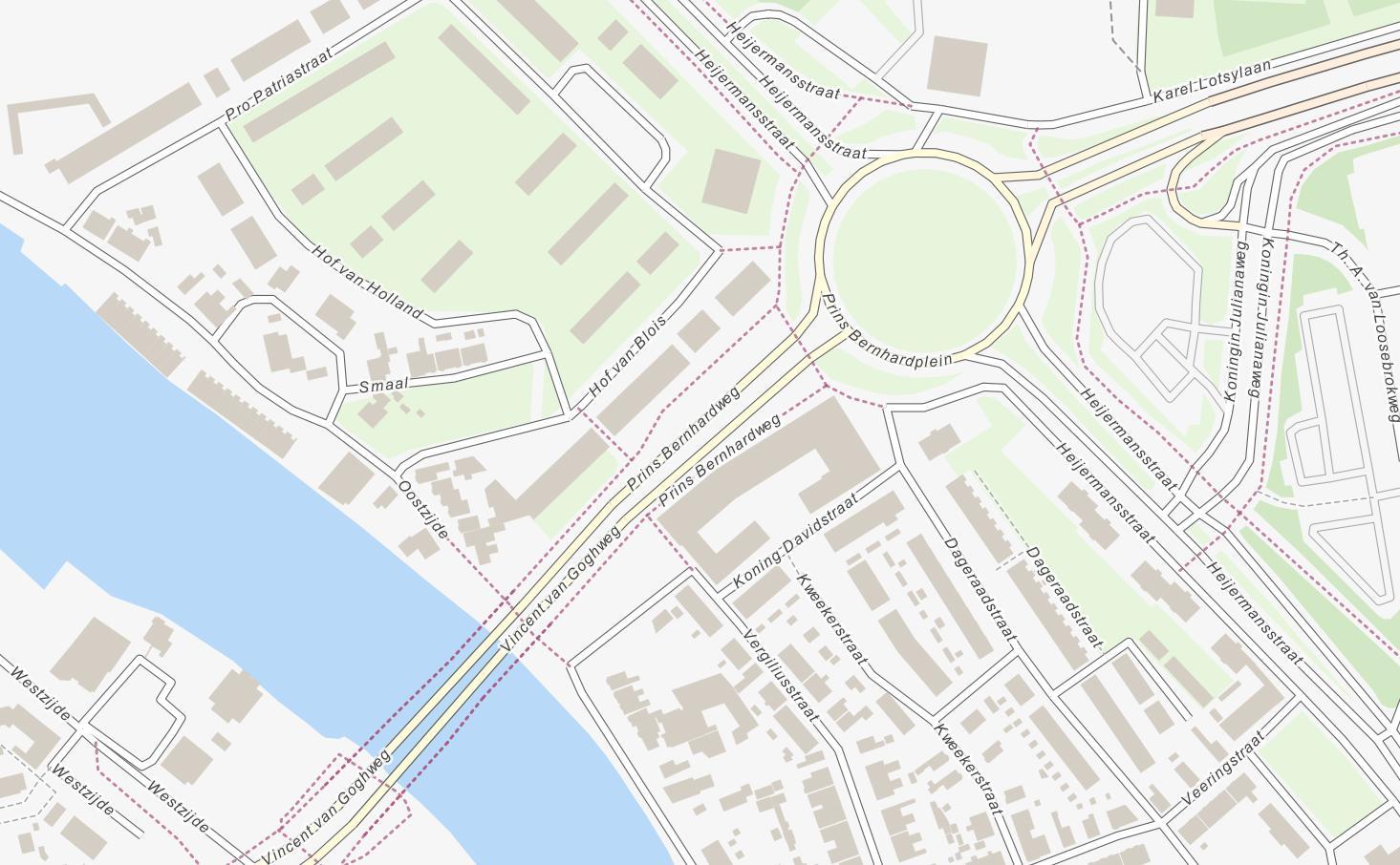 Eenvoudige weergave van stratenplan met stedelijke bebouwing.