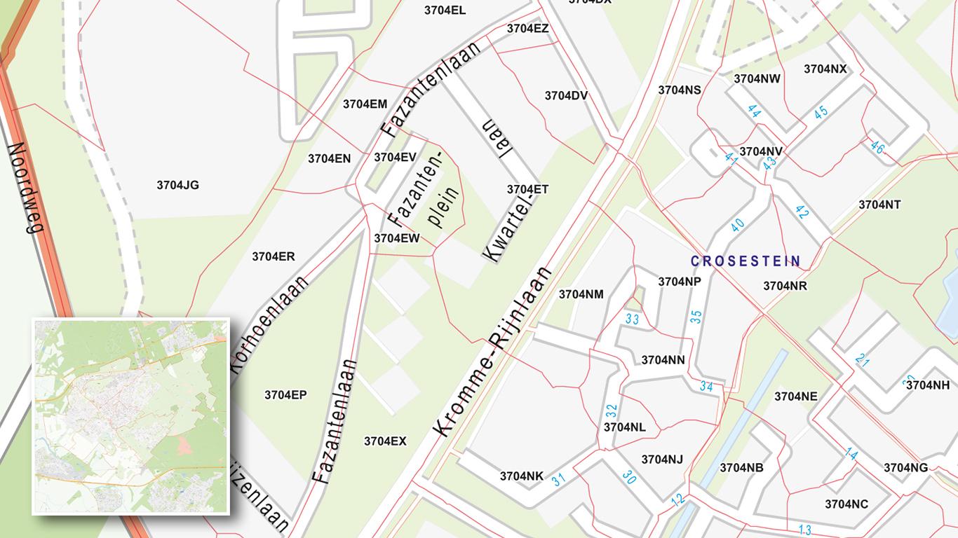Stadsplattegrond met postcodes met 6 cijferige postcodes.